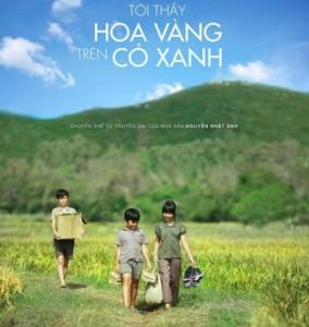 Les fleurs jaunes sur les herbes vertes affiche vietnam